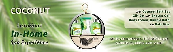 bath gift set, bath and body gift set, bath spa gift set, coconut spa set, coconut bath gift set,