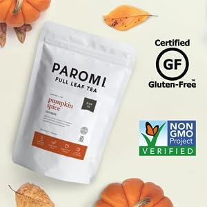 Paromi Tea Certified Gluten Free and Non-GMO verified