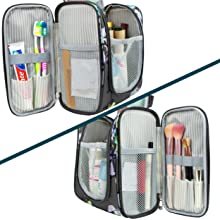12 smaller pockets organize all your toiletry from toothbrush, makeup brush, cosmetics/hygiene