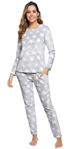 Hawiton Pijamas Mujer Invierno de Algodón Mangas Larga ...