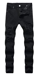 ripped jeans for men black jean mens skinny biker holes slim fit hip hop straight distressed