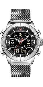 men digital watch silver