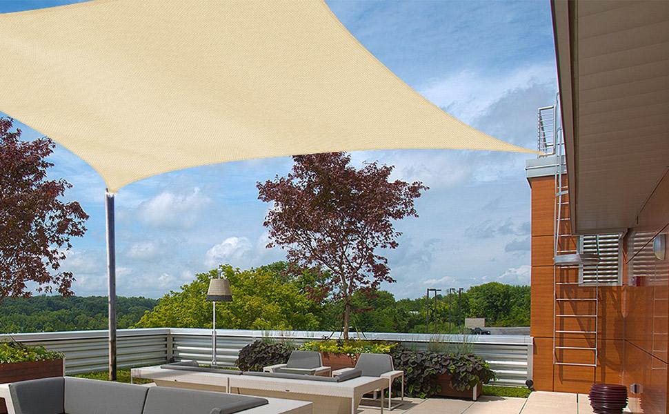 hanSe/® Marchio Parasole Protezione Solare a Vela Rettangolare 5/x 7/m Sand
