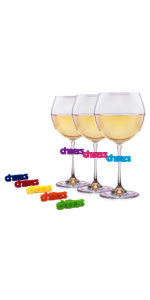 Silicone cheers wine charms