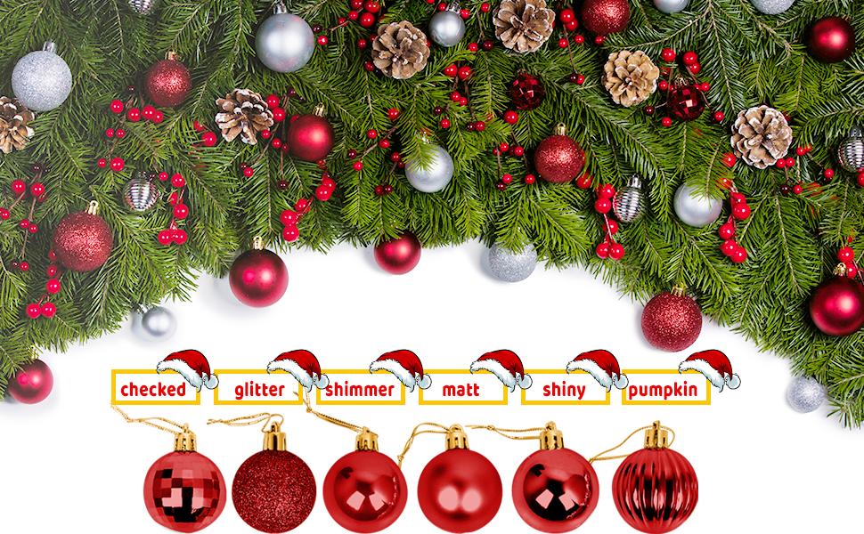 100 rote Weihnachtskugeln mit 10 Lamettini Rot Lametta Anhänger Baumschmuck