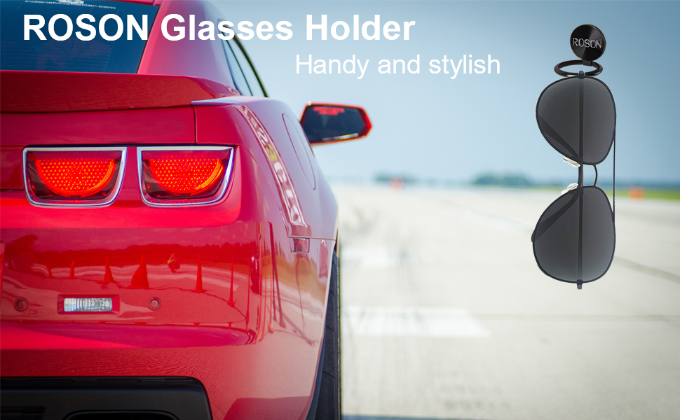 Premium Metal-Alloy Eyeglasses and Sunglasses Holder for Car Dash ROSON Glasses Holder for Car Dash Any Surface You Need 2 Pack