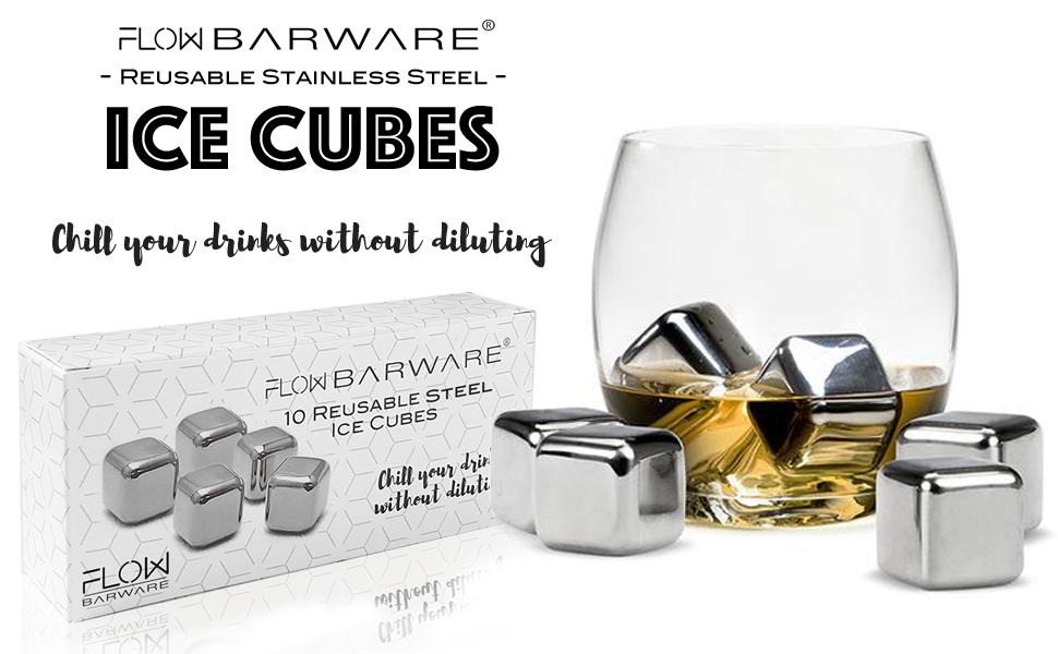 10 piedras de whisky de acero inoxidable para enfriar cubitos de hielo, cubitos de hielo de metal reutilizables para bebidas