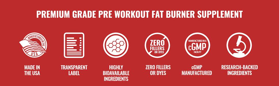 Premium Grade Pre-Workout Fat Burner Supplement