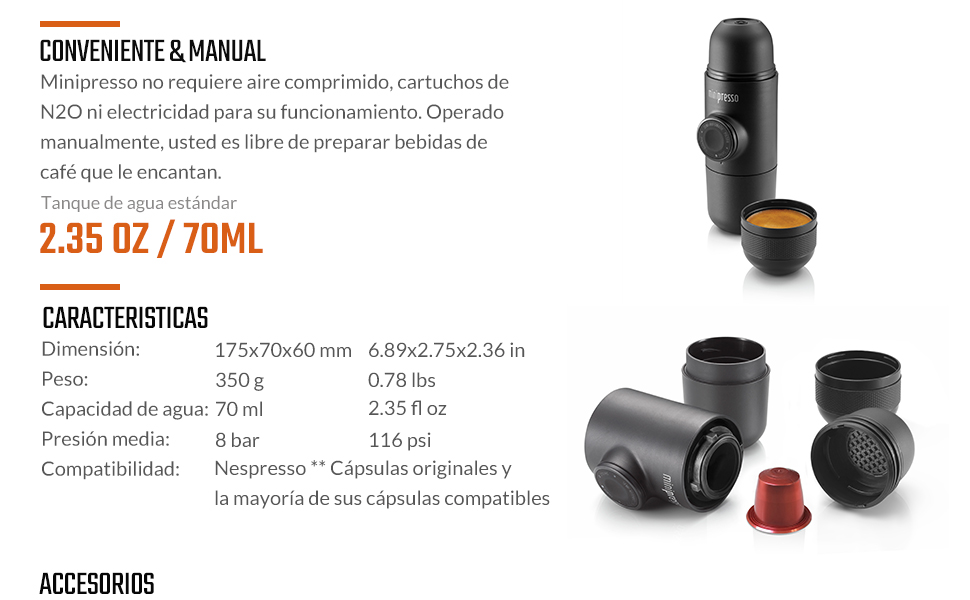WACACO Minipresso NS, Cafetera Espresso Portatil, Compatible con ...