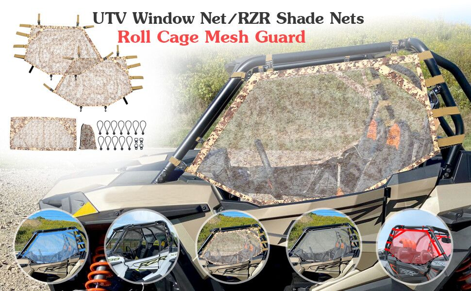 Goldfire Front Rear Window Wind Screen Shade Shield Cover Window Mesh Net Door Scratch Prevention Protection Soft Top Mesh Roof Sunshade Cover FIts for UTV Polaris RZR Blue