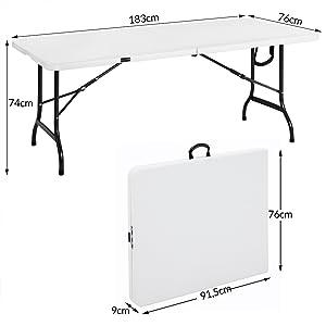 Casaria Mesa de Jardín Plegable con asa 180x76x74 Mesa de Camping Portátil para Exterior Mesa Plástica Blanca para Fiestas