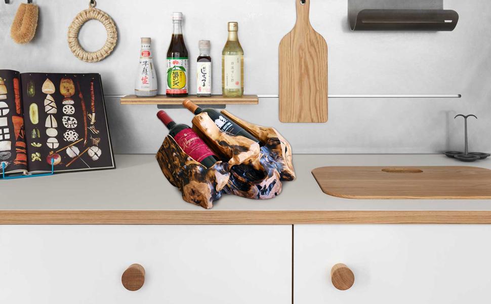 WELLAND Tree Stump Wine Rack, 2-Bottle Wine Holder, Cedar Wood Countertop Wine Bottle Holder