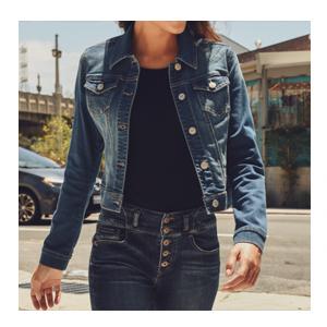 Oversize Denim Jacket for Women Ripped Jean Jacket Boyfriend Long Sleeve Coat