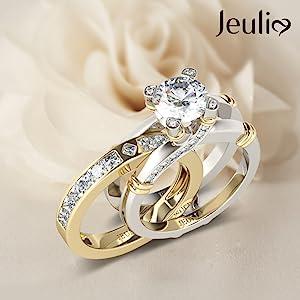 Jeulia engagement wedding rings bridal rings set sterling silver wedding baidal rings  blue diamond
