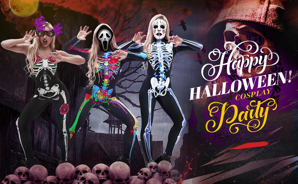 women halloween skeleton bodysuit
