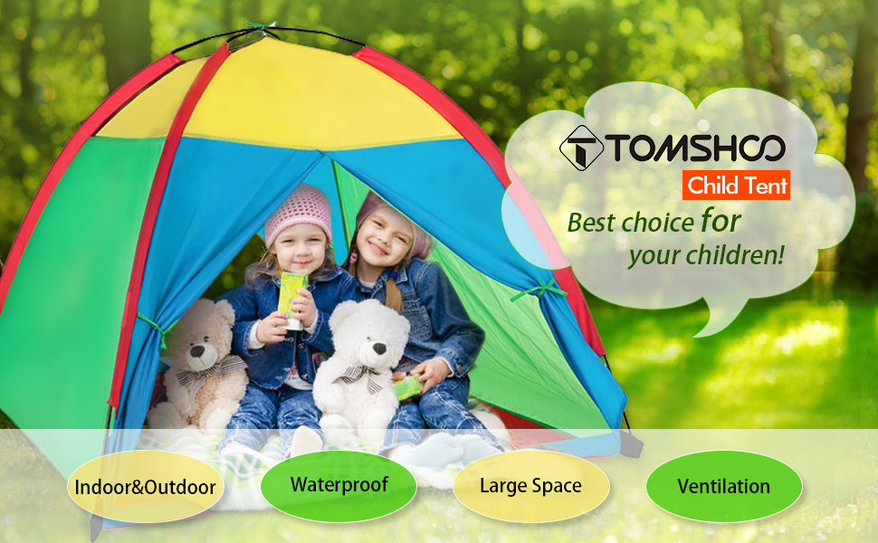 TOMSHOO Children Tent Portable Children Kids Play Tent Water resistant Indoor Outdoor Garden Toy Tent
