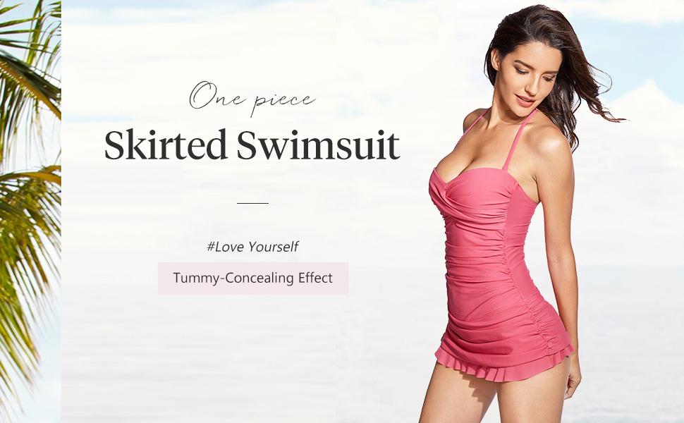Women Swimwear One Piece Bandeau Halter Girls Swim Dress Slim Swimsuits Skirt