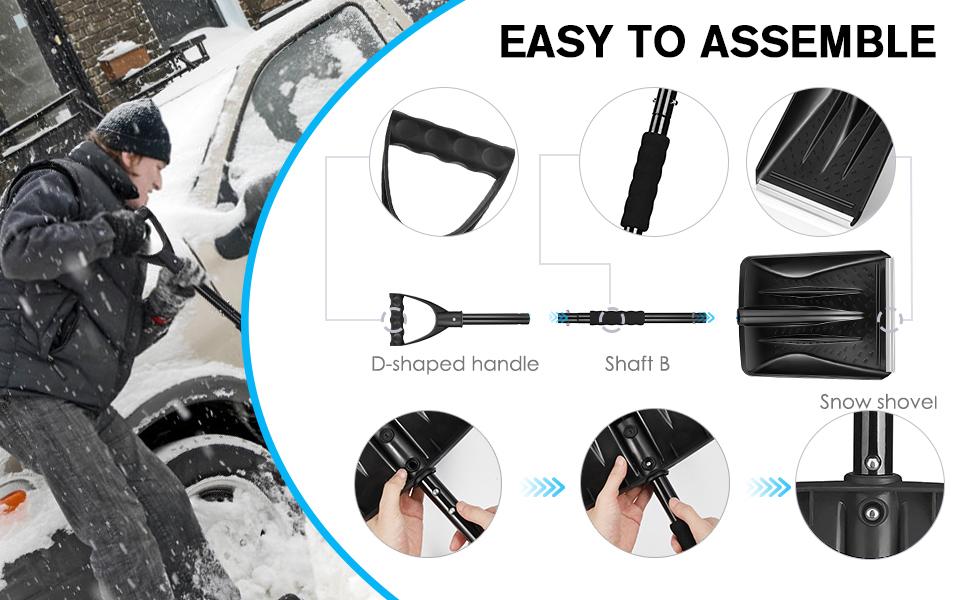 lightweight and detachable aluminum snow shovel
