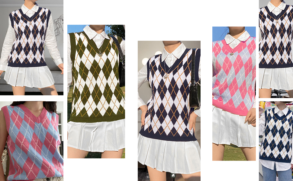 V-neck knitted sweater vest Argyle plaid ready style sleeveless crop knitted vest