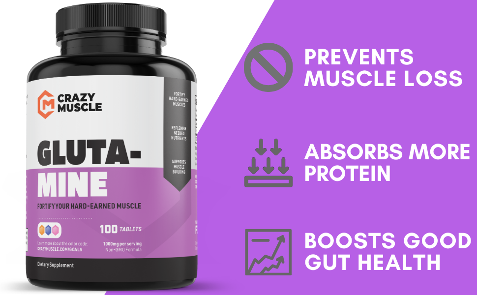 L Glutamine Capsules with 1000mg Pill Promotes Good Gut Health Maintain Muscle Accelerate Mass Gains