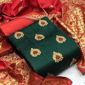 Rajnandini Women's Banarasi Silk Jacquard Woven Unstitched Salwar Suit Material