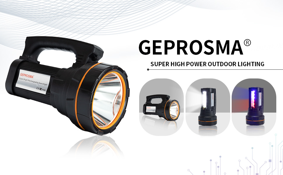 GEPROSMA Super Bright led  Spotlight Flashlight Searchlight handheld  high lumens Rechargeable
