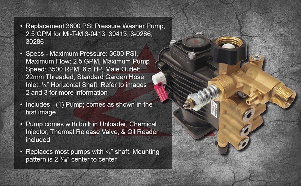 "6.5 HP 3600 PSI Pressure Washer Pump 2.5 GPM 3500 RPM 3//4/"" Horizontal Shaft"