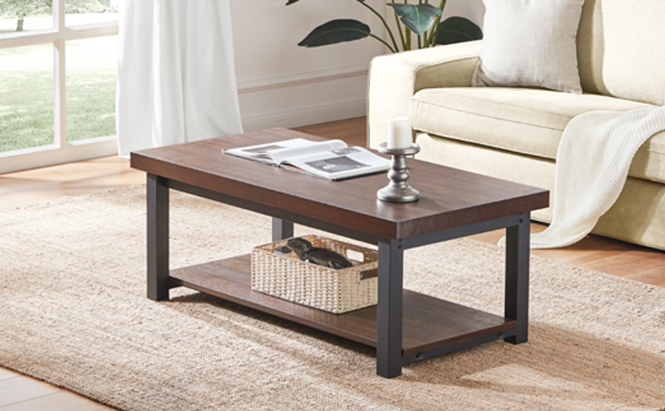 Amazon Com Dyh Coffee Tables For Living Room Rustic Wood And Metal Cocktail Table With Shelf 47 Inch Vintage Espresso Kitchen Dining