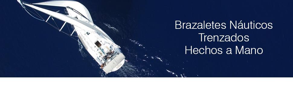 Los brazaletes trenzados están hechos de la soga náutica de la más alta calidad