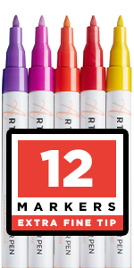 Paint pens for Rock Painting, Stone, Ceramic, Glass, Wood, Canvas. Set of 12 Acrylic Paint Markers