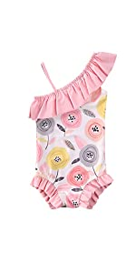 toddler girls strap out shoulder floral swimming suit beach wear