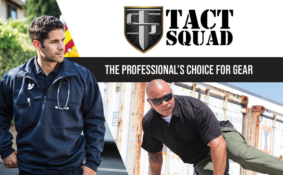 Tact Squad logo with tag line: quot;The professional's choice for gearquot; and images of safety workers