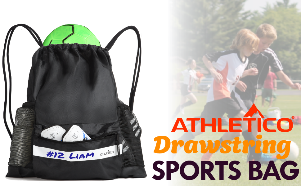 Athletico Drawstring Soccer Bag / Sports Backpack | Durable & High Quality - Made for Youth Sports