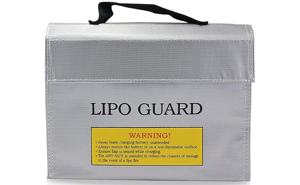 2x lipo akkus wache sicher beutel feuerfest explosionsdruckfeste storage bag Neu