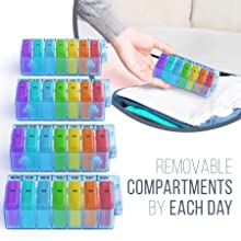 monthly pill organizer removable compartments