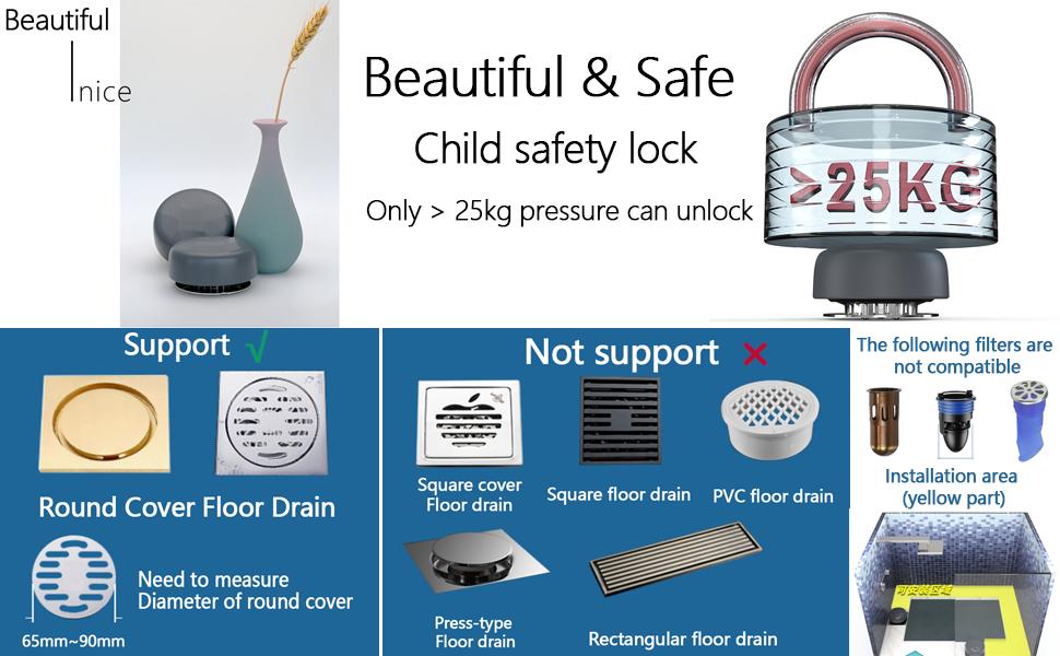 basement bathroom shower stainless steel Anti-blocking Cut hair floor drain cover 15
