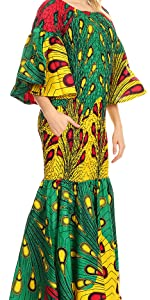 flared 3/4 sleeve stretchy smock elastic fitted african ankara print colorful casual event bride
