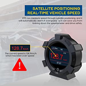 OBDII Speedometer KMH MPH Head Up Display Battery Voltage Engine Charging Voltages