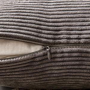 MIULEE Corduroy Soft Soild Decorative Square Throw Pillow Covers Set