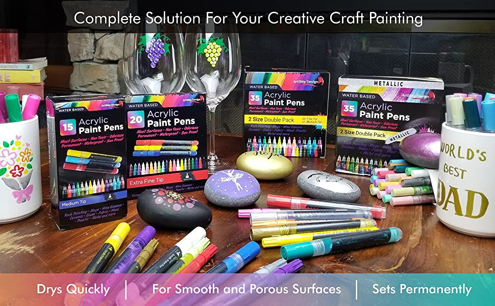 Acrylic paint Pens, Rock Painting, Paint Pens for Rocks, Wine Glass Painting, Mug Painting, Metallic