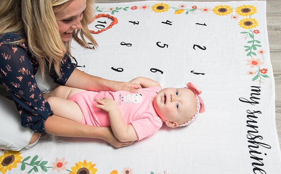 Boho Baby Monthly Blanket Pink Flower Nursery Bedding Floral Girl Milestone Blanket Baby Girl Shower Blanket Girl Personalized Swaddling