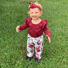 cute floral baby girl fall outfit winter