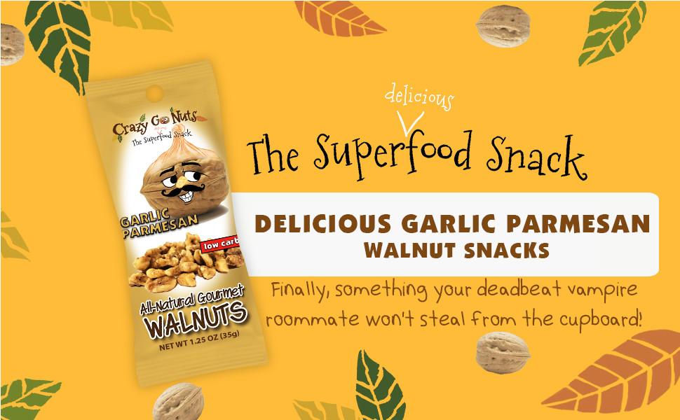 crazy go nuts garlic parmesan walnut snack superfood health gluten free low carb keto friendly good