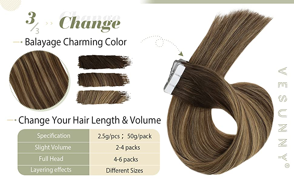 Balayage Hair Extensions Tape in Hair Double Sided Adhesive