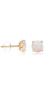 opal earrings 14K gold