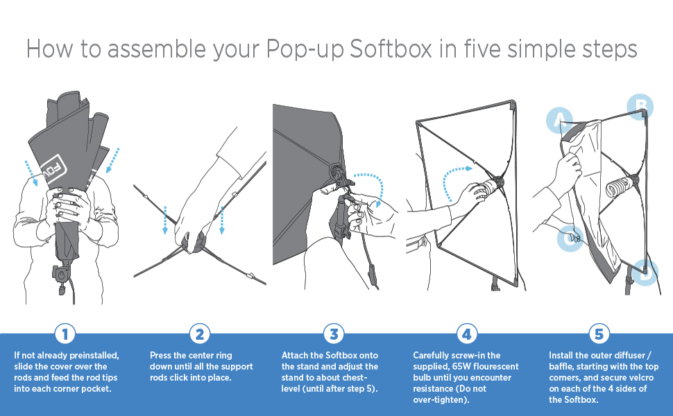 how to assemble a pop up soft box for photography with this continuous light