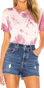 Women's Tie Dye Printed Short Sleeve Tshirt Round Neck Casual Loose Pullover Tee Tops Shirts 71978…