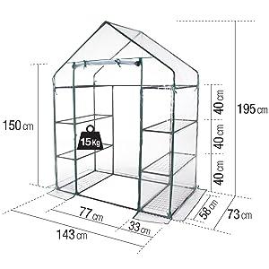 Verdelook, serra, casetta, 8 ripiani, PVC, misure, orto, giardino