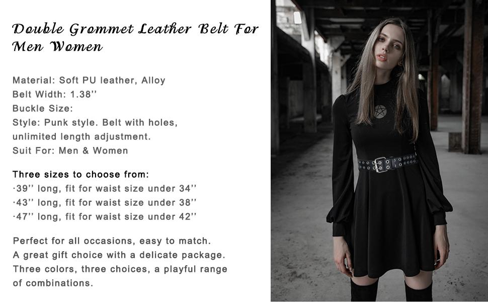 studded women belt leather belt women belt double hole belt grommet belt