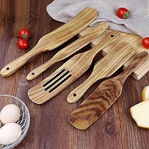 cooking utensils set wooden